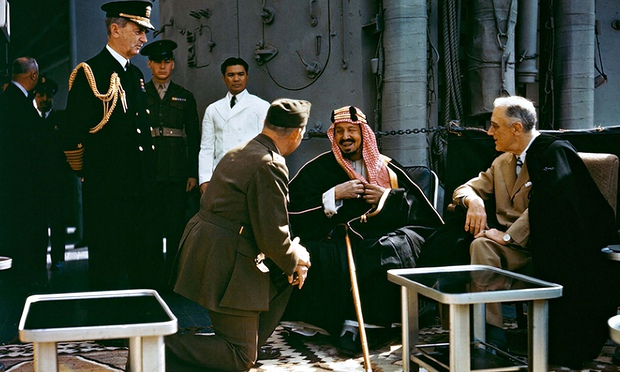 Meeting at Bitter Lake … President Franklin Roosevelt (right) meets King Abdulaziz. Photograph: Cour
