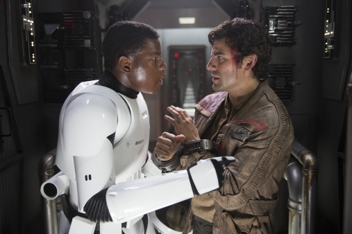 Star Wars: The Force Awakens L to R: Finn (John Boyega) and Poe Dameron (Oscar Isaac) Ph: David James © 2015 Lucasfilm Ltd. & TM. All Right Reserved.